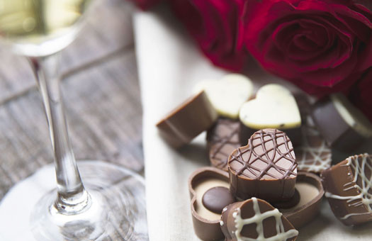 Roses, Champagne, & Chocolate Hearts
