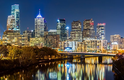 Downtown Philadelphia Skyline at Night